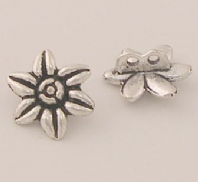 10 Tibetan silver beads 2 holes 14mm Flowers